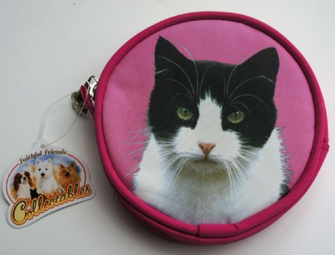 BLACK AND WHITE CAT COIN PURSE IDEAL GIFT FOR CAT LOVERS